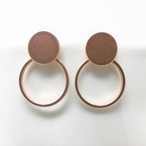 DISC AND HOOP STUD EARRINGS - ROSE GOLD