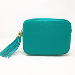 LEATHER BOX BAG WITH REMOVABLE STRAP - AQUA