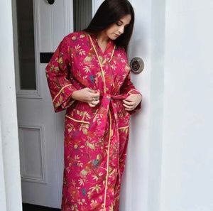COTTON DRESSING GOWN - FUCHSIA BIRDS OF PARADISE