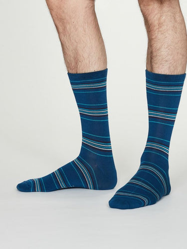 MENS BAMBOO SOCKS - BLUE STRIPE