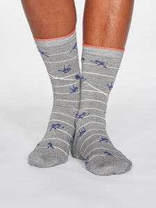 WOMENS BAMBOO SOCKS - GREY BIRDS