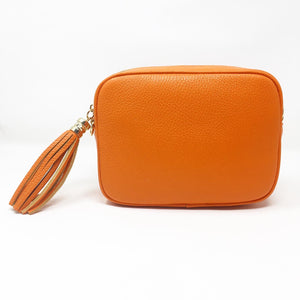 LEATHER BOX BAG WITH REMOVABLE STRAP - ORANGE