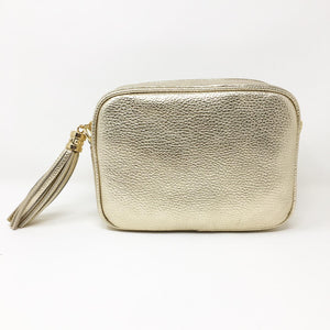 LEATHER BOX BAG WITH REMOVABLE STRAP - METALLIC GOLD