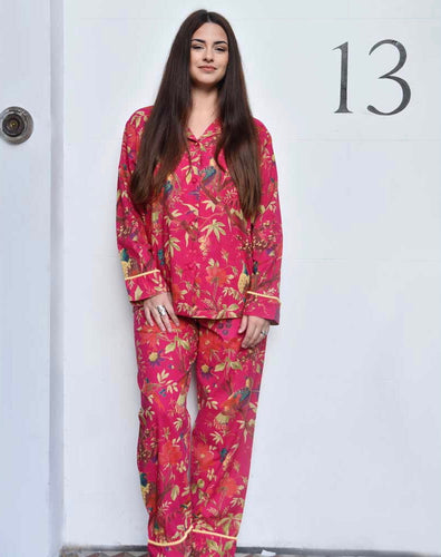 FUCHSIA BIRDS OF PARADISE COTTON PYJAMAS