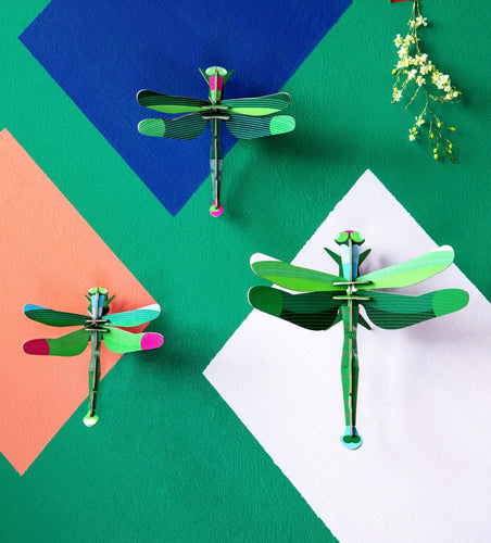 SET OF THREE DRAGONFLIES 3D WALL HANGING