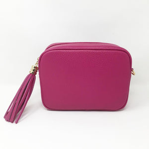 LEATHER BOX BAG WITH REMOVABLE STRAP - FUSCHIA
