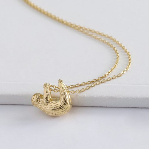 GOLD PLATED SLOTH NECKLACE