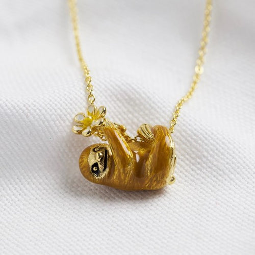 ENAMEL AND GOLD PLATE SLOTH NECKLACE