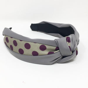 ALICE BAND - GREY AND PURPLE