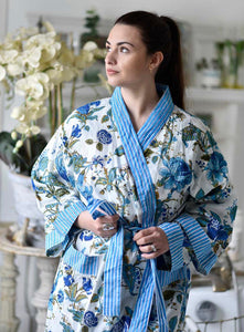 COTTON DRESSING GOWN - BLUE FLORAL PRINT
