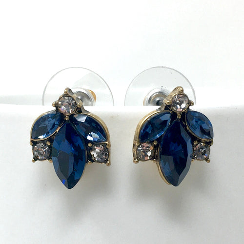 PETAL SHAPES STUD EARRINGS - DARK BLUE