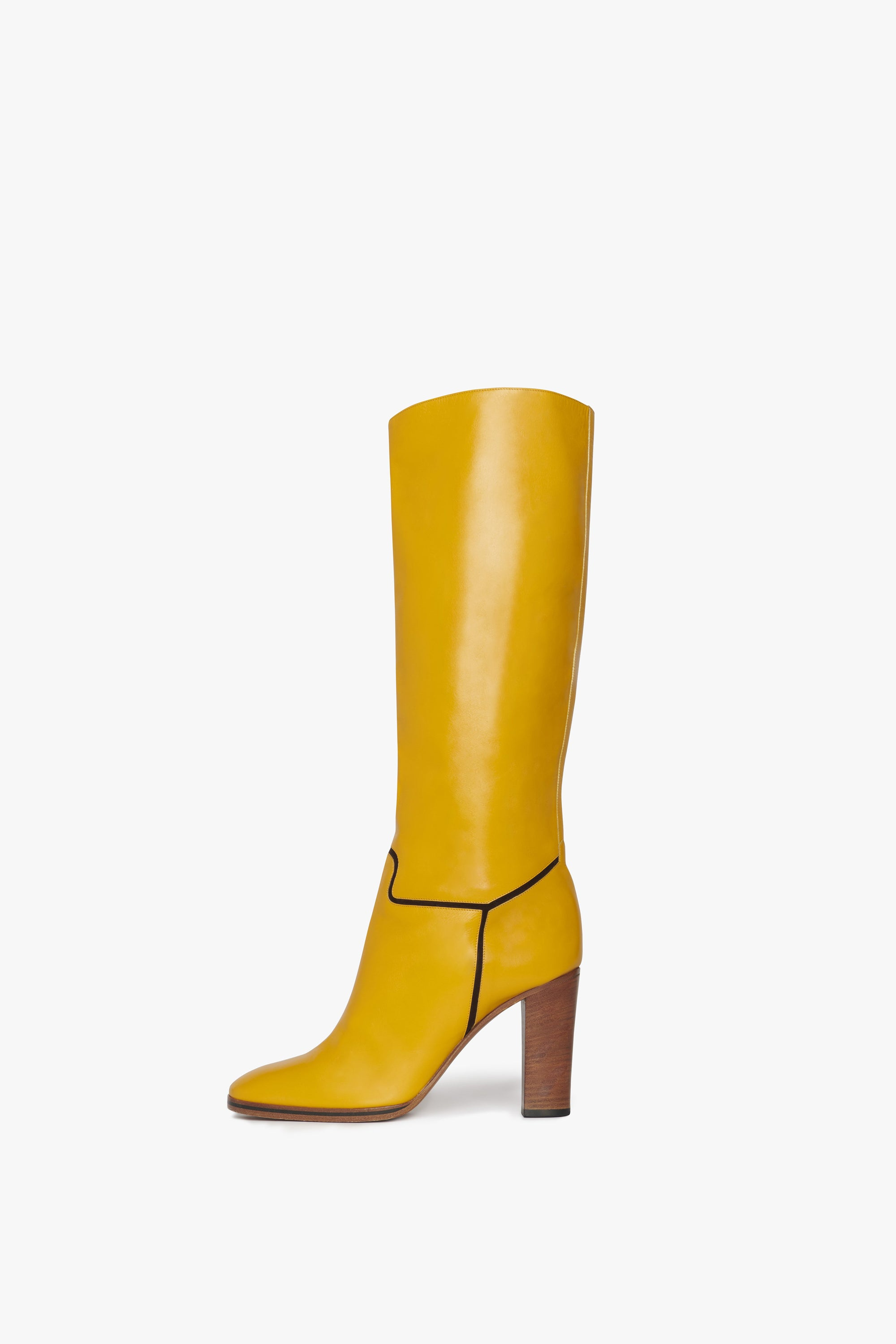 Valentina Knee-high Leather 95mm Boot in Ochre Yellow