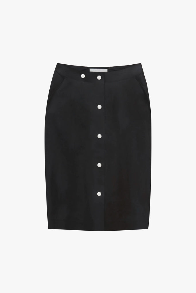 Button-Detailed Midi Leather Skirt