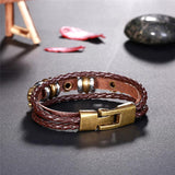 Skull Skeleton Vintage Punk Bracelet- Braided Genuine Leather