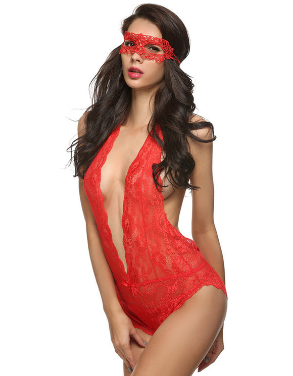 Girl Power Sexy Lingerie Set with Lace Eye Mask