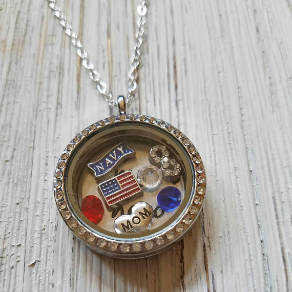 Navy Mom / Navy Wife floating charm Necklace- Gift for Mom / Wife