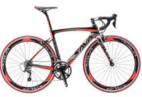 Carbon fiber road bike with red trim