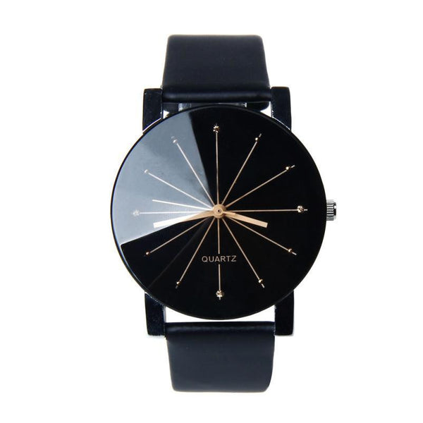 Women's fashion black glass face leather band wristwatch