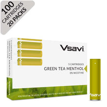 vsavi classic cartridges 100 pack green tea menthol