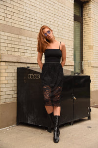 """Heartbreaker"" black sheer lace skirt"
