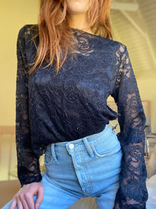 "The ""Sarah""  black lace crop top"