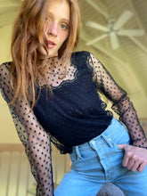"The ""Clare""  black sheer dot tulle top"