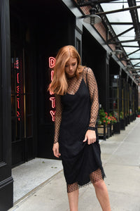 """Time After Time"" black sheer tulle dress"