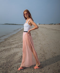 """Gypsy"" peach sheer chiffon maxi skirt"