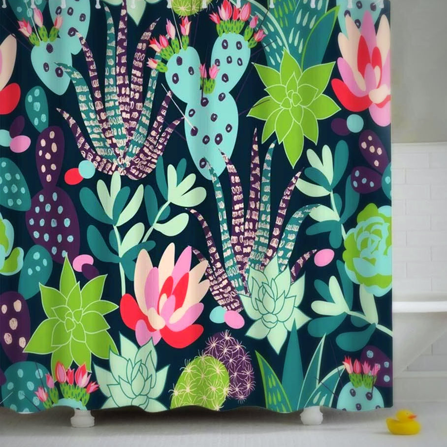 Cactus & Flowers Shower Curtain Shower curtain Lamasoll