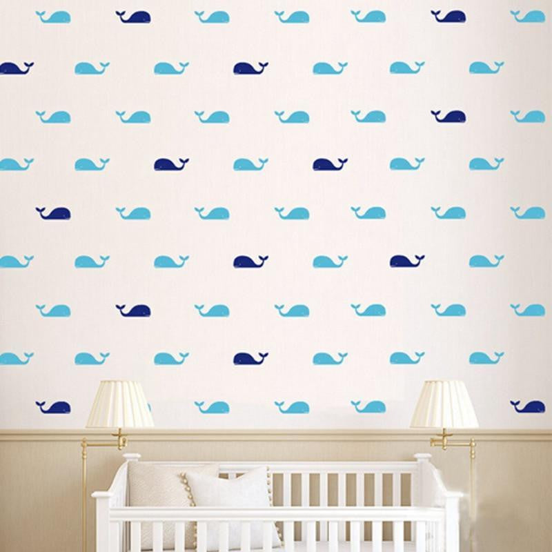 Fish Whales Wall Sticker 60pcs Wall sticker Blue & Navy Blue / 9cmx3cm  left head