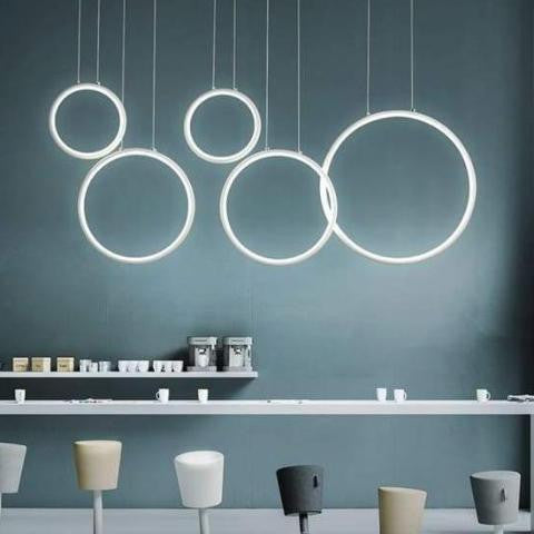 360° S2 Modern Ring Chandelier Pendant lighting Dimming color / 5 rings