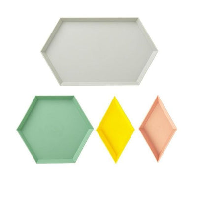 Kaleidoskop Hexagonal Trays 4pcs unique and elegant Tray 4 pcs/set