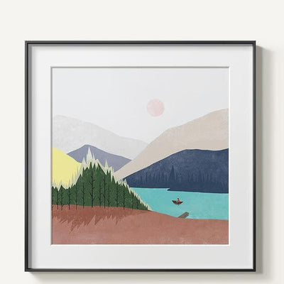 Abstract Mountains | Unframed Canvas Art unique and elegant Canvas print - Wall Art River / 60x60cm