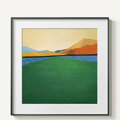 Abstract Mountains | Unframed Canvas Art unique and elegant Canvas print - Wall Art Green / 60x60cm