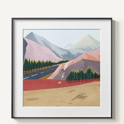 Abstract Mountains | Unframed Canvas Art unique and elegant Canvas print - Wall Art Mountains / 60x60cm