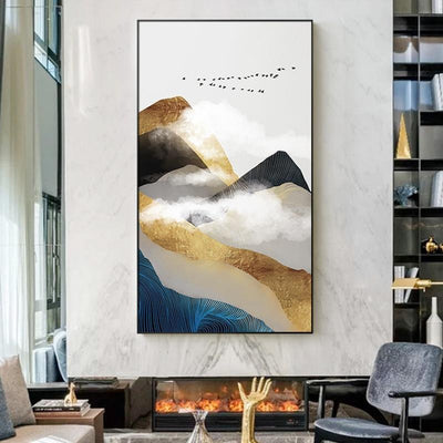 Golden Mountain & Cloud Canvas print - Wall Art A / 80x140cm