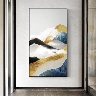 Golden Mountain & Cloud Canvas print - Wall Art B / 80x140cm