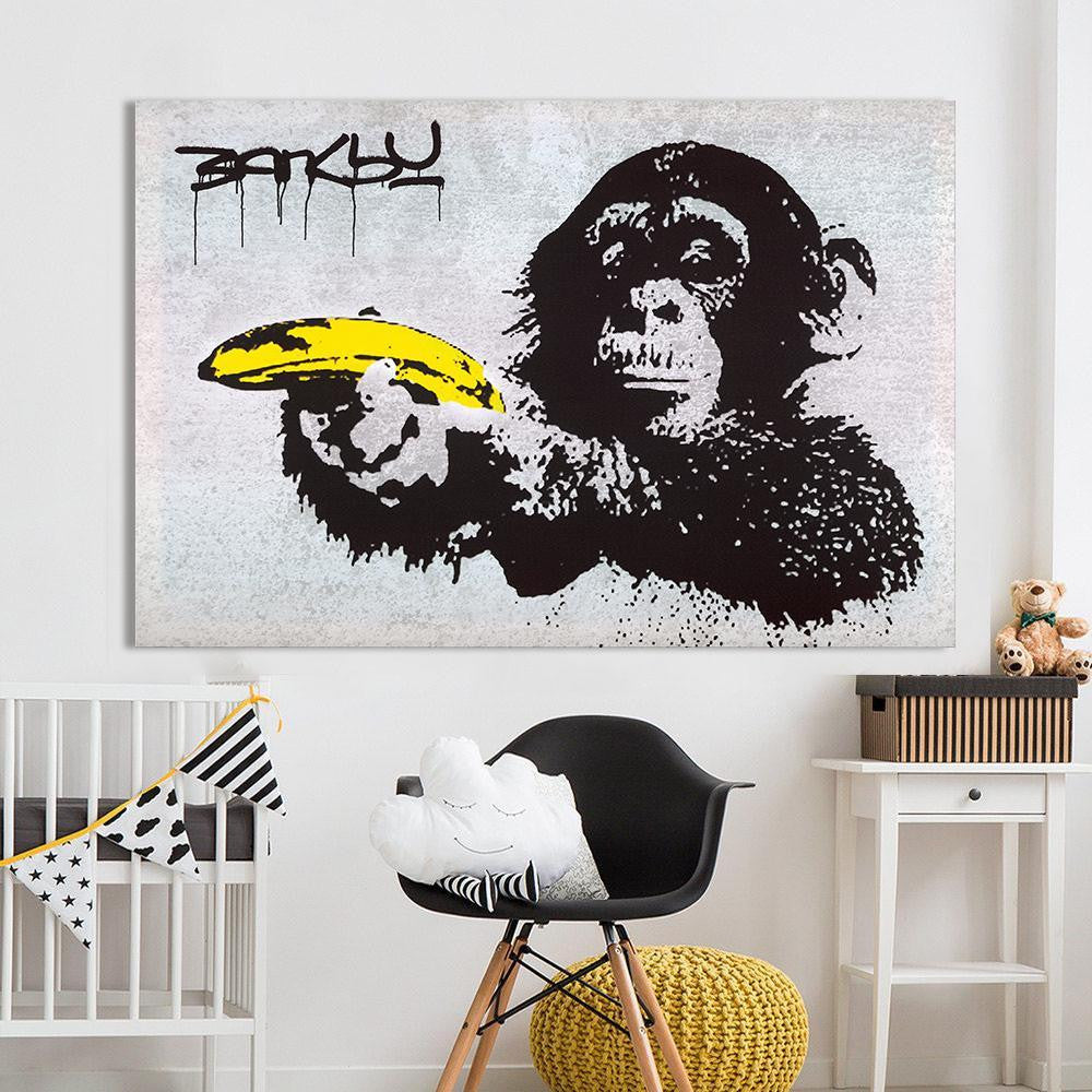 Chimpanzee With Banana Banksy Canvas print - Wall Art 70x105cm