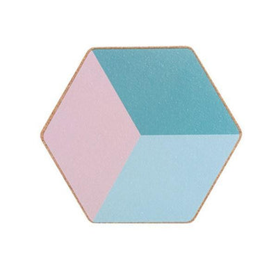 Geometric Placemat by Ingrid / 2pcs Coaster Blue+Rose (2pcs)