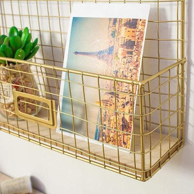 Elementary by Henry | Photo Gold Wire Grid Frame | Wall Grid + Baskets Shelf