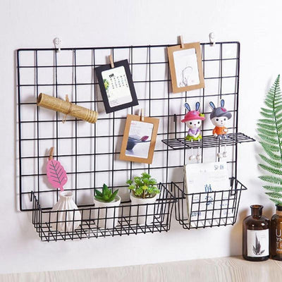 Exploration | Shelf with Baskets | Metal Wire Grid | Wall Creative Panel Shelf