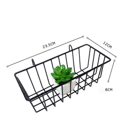 Exploration | Shelf with Baskets | Metal Wire Grid | Wall Creative Panel Shelf Black basket small