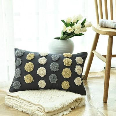 Floraisons Dots Embroidery Cushion Pillow Blue Dots