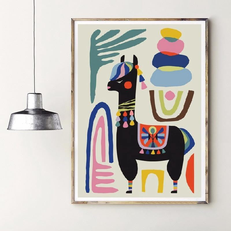 Alpaca Black   | Unframed Canvas Art unique and elegant Canvas print - Wall Art Sheep / 60x80 cm