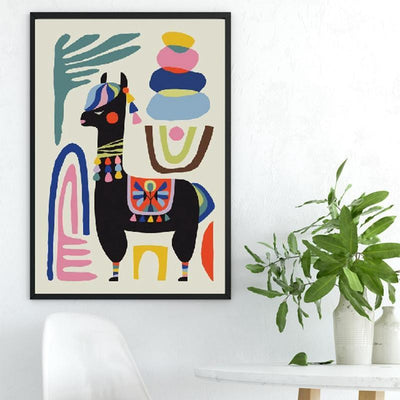 Alpaca Black   | Unframed Canvas Art unique and elegant Canvas print - Wall Art