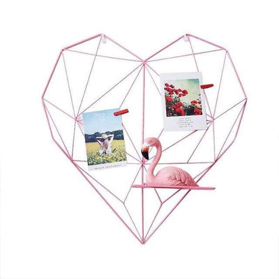 Amorousness Lilly-May | Photo Wire Grid Frame | Heart Shaped Wire Display Shelf Pink