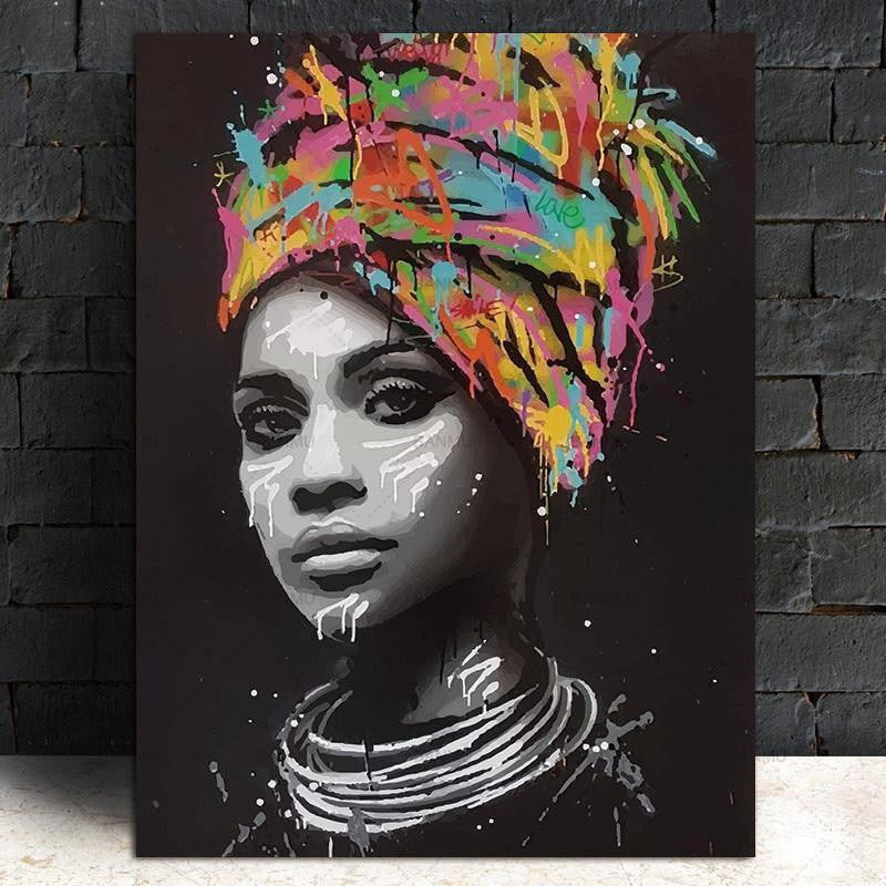 African Woman | Girl With An Attitude | Unframed Canvas Art unique and elegant Canvas print - Wall Art Africa soul / 60x90cm
