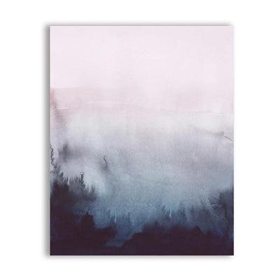 Pink Paradise View Canvas print - Wall Art Forest Fog / 50x70 cm