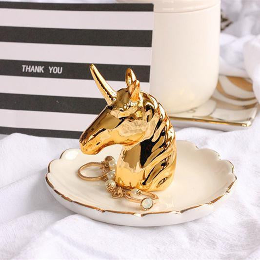 Flora Baker Unicorn Gold Organizer/Ring Holder Tray