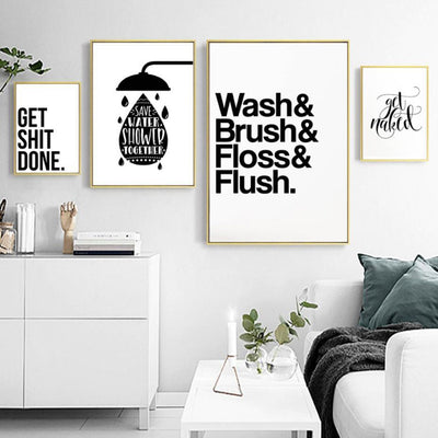 Wash Brush Flush Inspirational Quotes | Unframed Canvas Art unique and elegant Canvas print - Wall Art
